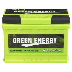 Акумулатор GREEN ENERGY 75Ah 670A R+